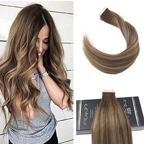 Ugeat 24 pollici tape in extension capelli veri adesive ombre colour ombre marrone e biondo remy human hair capelli lisci naturali