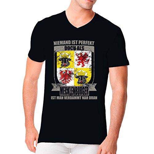 Fun Sprüche Männer V-Neck Shirt - Perfekter Mecklenburger Wappen by Im-Shirt Schwarz