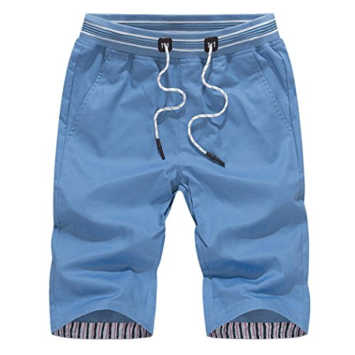 QinMM Herren Shorts Badehose Schnell Sport Strand Surfen Schwimmen Wasserhose Hose Feste Hose Tageshose Sweatpant Khaki Blau Weiß Dunkelblau M-4XL (3XL, Blau)