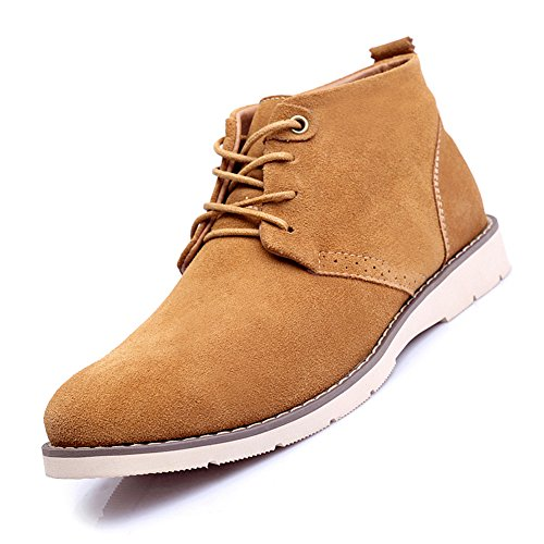 XiaoYouYu - Stivali Desert Boots uomo Marrone (Yellowish Brown with fur)