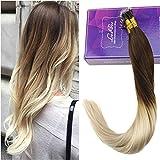 LaaVoo 20 Zoll #4T613 Dark Brown to Bleach Blonde Nano Tip Brasilianisches gerades Menschenhaar Remy Nano Ring Ombre Natural Hair Total 50 Strands