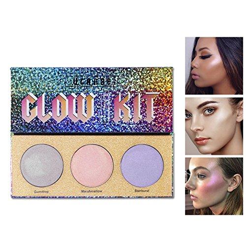 Allbesta Chameleon Highlighter Makeup Palette Bronzer Glühen Schimmern Kristall Zucker 3 Farben -