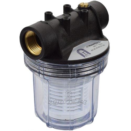 Agora-Tec® AT-Wasserfilter 1L, mit Max. Betriebsdruck: 4 bar, Max. Durchflussmenge: 3000 l/h, Maschenweiter Filtersieb: 0,2 mm, Anschlüsse: 1 Zoll (30,3 mm) IG Messingbuchsen