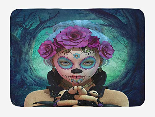 OQUYCZ Horror Bath Mat, Scary Clown Like Girls Showing her Hands with Gloves an Flowers in Her Head Print, Plush Bathroom Decor Mat with Non Slip Backing, 23.6 W X ()