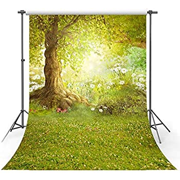 AIIKES 5x7FT Spring Green Grass Photography Backdrop Flower Tree Baby Photo Background Easter Photography Background for Photo Studio 11-424