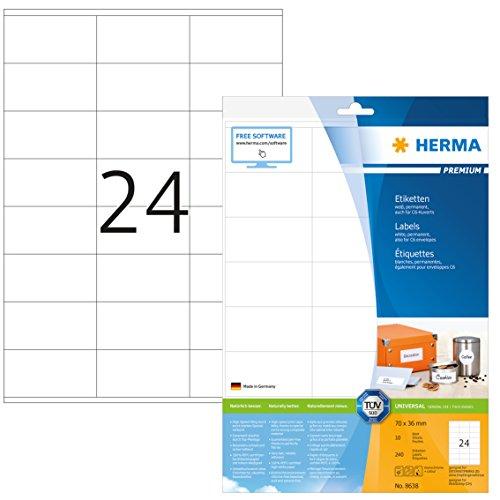 Herma 8638 Universal Etiketten (70 x 36 mm) weiß, 240 Adressaufkleber, 10 Blatt Premium DIN A4 Papier matt, bedruckbar, selbstklebend
