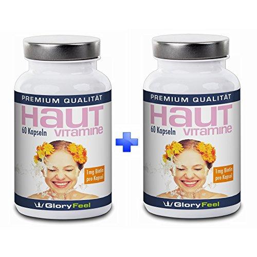 Haut Vitamine Kapseln + Biotin Hochdosiert und Rein | 2 Dosen im Set | Vitamin A, B, C, E + Biotin, Zink, Lycopin und Pantothensäure | 120 vegane Kapseln