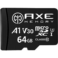 AXE 64GB MicroSDXC-Speicherkarte + SD Adapter mit A1 App Performance, V30, UHS-I U3, 4K