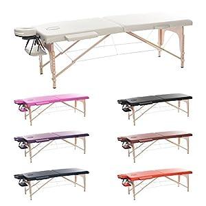 H-ROOT 2 Zonen Leichte Tragbare Massage Tisch Couch Bett Sockel Therapie Tattoo Salon Reiki Heilende Schwedische Massage mit Kostenlosen Tragetasche 12.8KG (schwarz)