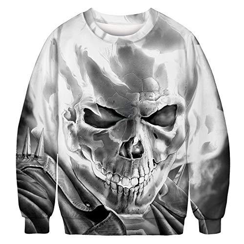 LHWY Winterjacke Herren Hoodie Männer Frauen Skelett 3D Print Langarm Sweatshirt Pullover O Neck Top Bluse Herbst Winterkleidung (2XL, Grau) (Hoodie Für Männer Skelett)
