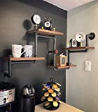 Qianniu Wieder Holz & Industrie DIY Rohre Regalen Steampunk Rustikal Urban Bücherregal 4 Etagen Regale