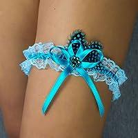 Liguero liga novia boda puntilla azul turquesa