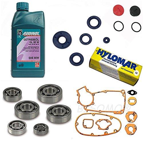 Motor-Regeneration für Simson S50 - 3 Gang - mit SNH Motor Kugellager - Dichtsatz - Getriebeöl GL 80W - Hylomar Flüssigdichtung - Wellendichtringe - Verschlussstopfen (3)