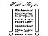 Wandtattoo-bilder® Wandtattoo Badezimmer Toiletten Regeln Nr 1 Wandsticker Wandaufkleber Farbe Schwarz, Größe 70x80