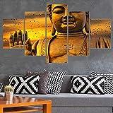 ISAAC ENGLAND Soggiorno HD Stampato Poster Decorazione Cornice 5 Pannello Buddha Dorato Immagine modulare Wall Art Casa Pittura Moderna su Tela-, 40x60 40x80 40x100cm