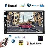 Lecteur multimédia pour voiture Camecho 2 DIN Bluetooth MP5 TF Radio FM USB avec support de liaison miroir Commandes au volant iOS...
