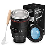 Camera Lens Coffee Mugs - Stainless Steel Travel Mug Tumbler Tea Water Bottle with Magic Sucker & Spill-proof Lid, Fun Photographer Camera Cups, Great Gift Set for Men Women Photographers Videographers, 320ml Balck