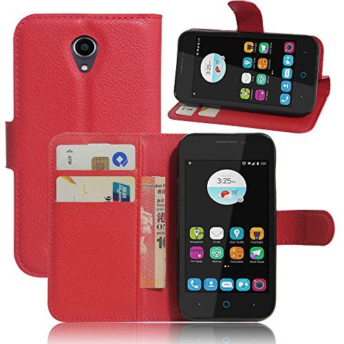 ZTE Blade L110(4.0 ZoLL) Hülle,Frlife | Bookstyle Handyhülle Premium PU-Leder klapptasche Case Brieftasche Etui Schutz Hülle für ZTE Blade L110(4.0 ZoLL) Rote