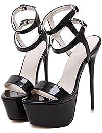 YOGLY Femme Escarpins Bride Cheville Sexy Talon Aiguille Plateforme Epais  Chaussures High Heels Club Soiree 5630fba874ac