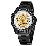 FORSINING Men's Skeleton Automatic Self-Wind Stainless Steel Band Watch with Analog Dial FSG8162M4B3