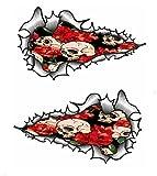 Sticar-it Ltd Coppia Lunga METALLO LACERATO Stile Tatuaggio Teschio e Rose Rosse Emo Gotico Motivo Vinile Adesivo,decalcomania Auto - Piccolo 120x70mm cadauno