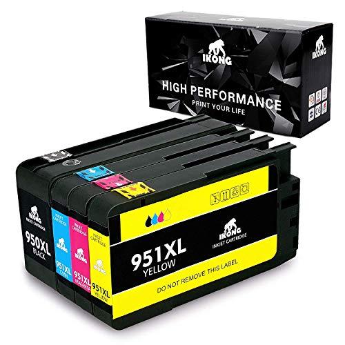 IKONG Compatible HP 950XL 950 XL HP 951XL 951 XL Cartuchos de Tinta, Alto Rendimiento, Trabajar con HP Officejet Pro 8600 8620 8610 8100 8615 Impresora- 4 Paquetes(Negro Cian Magenta Amarillo)