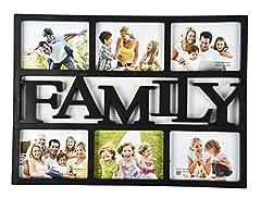 """Idea Regalo - ARPAN Cornice portafoto con scritta Home"""" oFamily, per 6 foto - Black ''FAMILY''"""