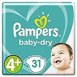 Pampers Baby-Dry Windeln Größe4+ (40–15kg), Luftkanäle für atmungsaktive Trockenheit die ganze Nacht, extra saugfähig, Sparpack, 4er Pack (4 x 31 Stück)