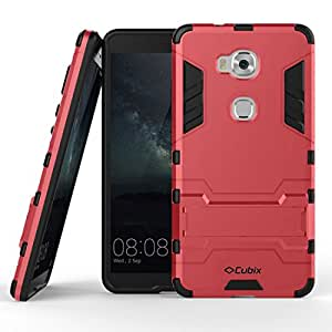 SWAN Honor 5X Case, Slim fit, Armor Defender, Hybrid Protective Shock Proof Case Cover With Kickstand for Huawei Honor 5X - Red