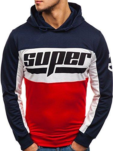 BOLF Herren Kapuzenpullover mit Aufdruck Sweatshirt Hoodie Kapuze Print Sportlicher Stil RED Fireball HY206B Mehrfarbig XL [1A1]