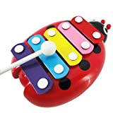 Oyedens 5 Xylophone Wisdom Development Wooden Musical Instrument Beetle Toys (Red)