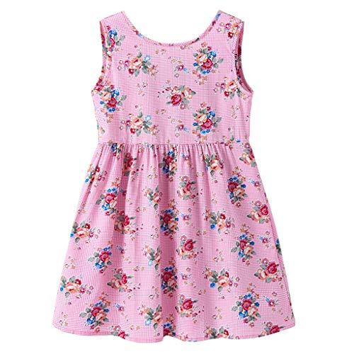 Longra Kinderböhmische Kleinkind Mädchen Sleeveless Print Bow Princess Dress Sommer Prinzessin Dress Kinder Baby Party Hochzeit Sleeveless Floral Kleider Sommerkleid