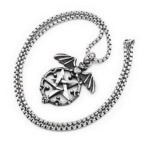 n Hip Hop Punk Silber Titan Stahl Halskette Beste Biker Zacken Fledermaus-Anhänger, Unisex, Geschenk (Beste Fledermaus Kostüm)