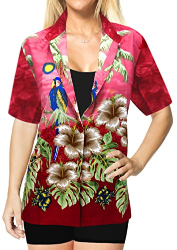 La Leela Strand Tragen Kragenknopf Unten Bluse oben Verschleiern Hawaii-Hemd  mit Kurzen  Rmeln ...