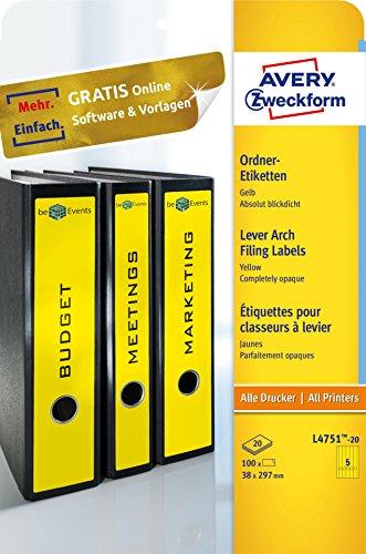 Avery Zweckform L4751-20 Ordnerrücken Etiketten (A4, 100 Rückenschilder, schmal/lang, selbstklebend, blickdicht, 38 x 297 mm) 20 Blatt, gelb