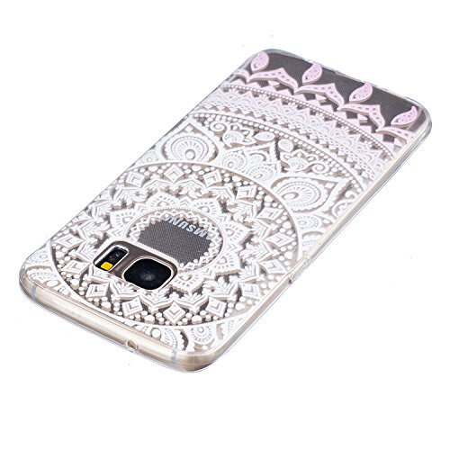 CaseHome Samsung Galaxy S7 Edge Silikon-Gel TPU Ultra Dünner Stilvoller Schöner Eleganter Netter Einzigartiger Prägeartiger Muster-Entwurf (mit freiem Griffel) Weicher Gummi-transparenter TPU Stoßdämp Mandala-Blume