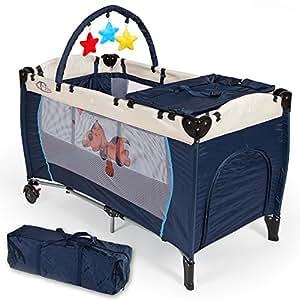 TecTake Culla lettino da viaggio regolabile in altezza bebé box NAVY