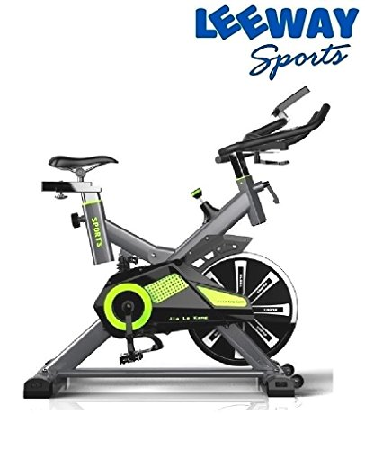 Leeway Spin Bike RU-709| Exercise Fitness Spin Bike(Green)| Spine Fitness Equipment| Exercise Cycle For Home Gym| 20kg Flywheel| Indoor Cycle| Trainer Fitness Bike| Commercial Gym Bike (Imported)