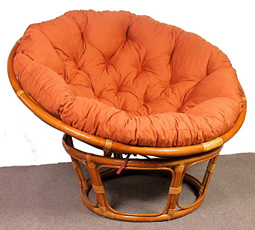 Rattan Papasan Sessel inkl. hochwertigen Polster , D 110 cm , Fb. cognac . Pad Lachsfarben . - 5