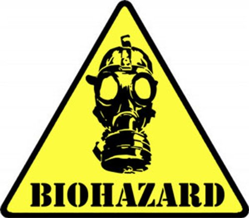 BIOHAZARD! Mask patch toppa Iron-On / Sew-On Officially Licensed Biological Biohazard Artwork, (SIZE) EMBROIDERED patch toppa