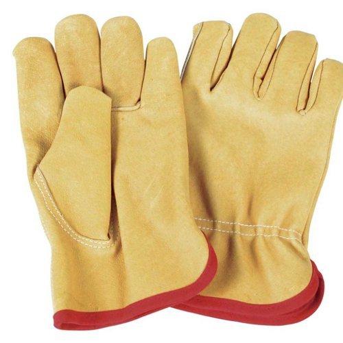 Verdemax 4927Große Blume Leder Garten Handschuh mit internen Jersey Baumwolle (Jersey-handschuh Rote Gefütterte)