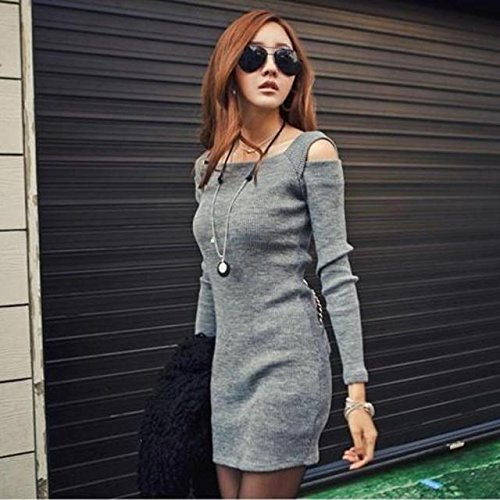 Culater® Femmes col Manches Longues en Tricot Court Mini Robe Gris