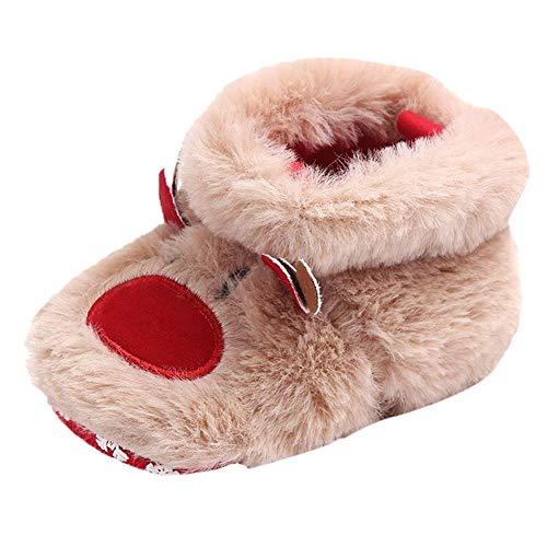 Chaussures Bébé en Coton Souple - Chaussons Bébé de Noël - Chaussures Premiers Pas - Chaussons Chauds en Fourrure pour bébé-Chaussures de Berceau Rouge Binggong (0-6, 6-12, 12-18Mois)