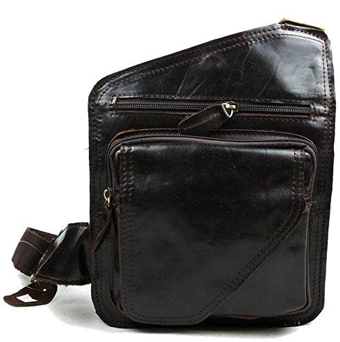 insum Herren Leder Retro Schultertasche Messenger Bag, Braun - Dark Coffee - Größe: One size