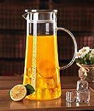asentechuk® 1,5l handgefertigt Borosilikatglas hitzebeständiges Glas Teekanne Wasser Flasche Kaffeekanne Saft Krug Eistee Krug -