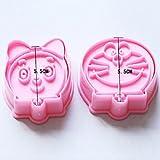 2pcs/set Doraemon Shape Cake Cookie decoración moldes herramientas molde para horno de cocina Mini DIY Sugarcraft