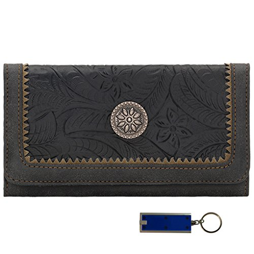 American West Bandana Ladies Bi-Fold Wallet ( Charcoal Concho Guns And Roses) (American West Geldbörse)
