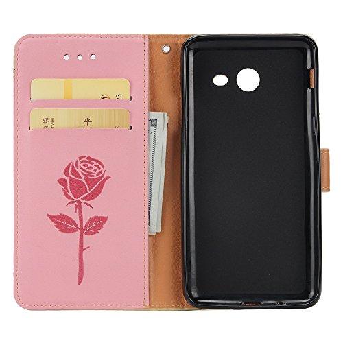 EKINHUI Case Cover Mischfarben Rose Blume matt Premium PU Leder Brieftasche Stand Case Cover mit Lanyard & Card Slots für Samsung Galaxy J3 2017 ( Color : Brown ) Pink