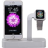 NIUTOP Apple Watch Stand, 2 en 1 Premium aluminio carga muelle estación Stand soporte para iWatch de Apple y iPhone(iPhone 5/ 5S/ 6/ 6 Plus, iWatch BASIC / SPORT / EDITION modelo) (A-Plata)