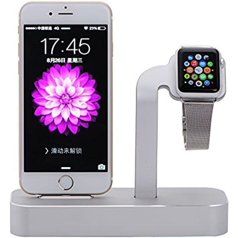 NIUTOP Apple Watch Stand, 2 en 1 Premium aluminio carga muelle estación Stand soporte para iWatch de Apple y iPhone(iPhone 5/ 5S/ 6/ 6 Plus, iWatch BASIC / SPORT / EDITION modelo) (A-Plata)